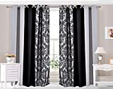 "Ringtop Eyelet Curtains fully lined HIGH QUALITY 125GSM Brushed fabric 3 TONE DAMASK SILVER (66"" wide X 90"" drop PAIR)"