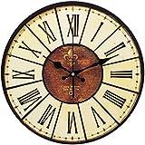 YESURPRISE Reloj Redondo Colgante De Pared Estilo Vintage Clásico Analógico Números Romanos Madera Decoración De Hogar Caferería Restaurante Color Marrón Diámetro 34cm