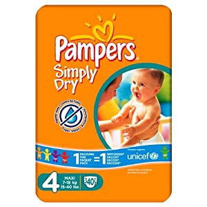 Pampers Simply Dry Size 4 (7-18kg) Mid Pack 6 x 40 per pack