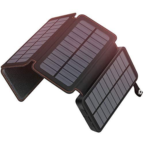 Hiluckey - Cargador Solar para Exteriores (25000 mAh, Resistente al Agua y a la Nieve, con 4 Paneles solares, Salida USB Dual, batería portátil para Smartphones, tabletas y más)