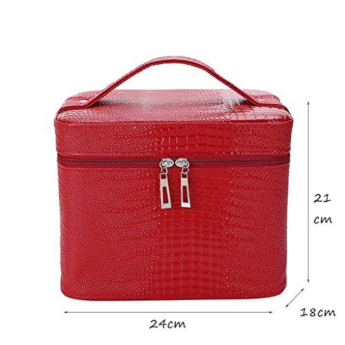 CLOTHES- Scatola di immagazzinaggio cosmetico della scatola di immagazzinaggio di alta capacità del sacchetto cosmetico Caso di immagazzinaggio di viaggio di caso astuto portatile ( Colore : Rose red  Rosso