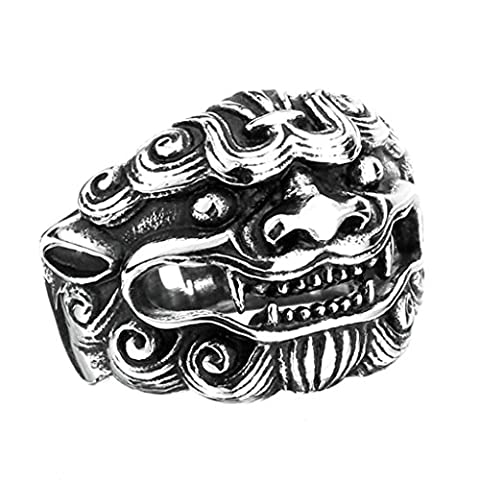 Aooaz 316L Stainless Steel Mens Ring Bands Skull Head Silver Size Z 1/2 Punk Gothic Vintage Novelty