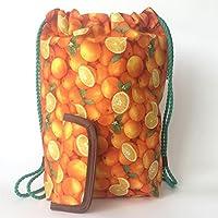 Zaino donna-Zainetto-Borsa in tela/Disegno e modello esclusivo fatte a mano da El Taller de Mis Nubes/Alimenti festivi per sacchi di frutta arancione/regalo donna-regali per lei-regali mamma