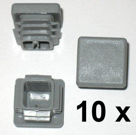 10 x Bouchon à lamelles carré rohrstopfen 20 x 20 mm (extérieur) Bouchon Gris