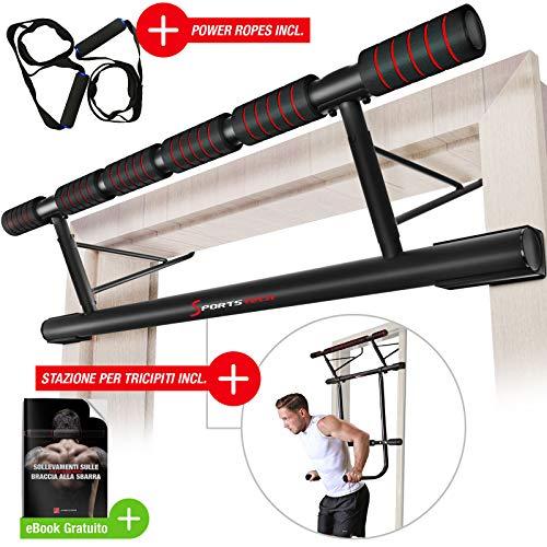 Sportstech Occasione Unica! Barra trazioni 4in1 Inclusive Dip Bar & Power Ropes, Sbarra per Porta Pieghevole KS500, Montaggio Sicuro per casa Senza Viti, Barra per Fitness, Crossfit incl. eBook.