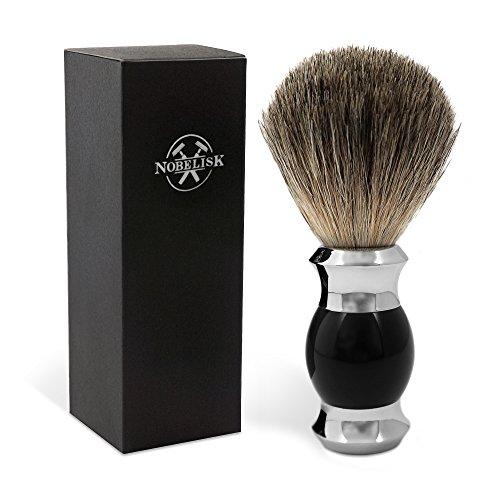 Pennello da barba di qualità Nobelisk con manico resistente in lega zinco-ferro | Pennello da barba in vera setola (nero)