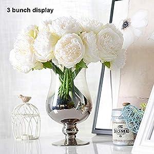 Ramo de 5 peonías artificiales, de DWE; flores hechas de imitación de seda, para novias, Navidad, bodas, fiestas…