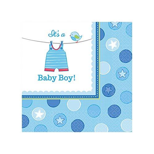 PARTY DISCOUNT Servietten Shower Baby Boy, 25x25 cm, 16 ()
