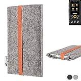 flat.design Handy Hülle Coimbra für Ruggear RG150 - Schutz Case Tasche Filz Made in Germany hellgrau orange