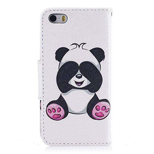 iPhone 5 Flip Handycover, iPhone 5S Bunte Stil Schutzhüllen, Aeeque® Slim Full Body Premium [Standfunktion Kartenfächer] Malerei Girl Pink Marmor Muster Handy Schutz Hülle Wallet Case Cover Schale für Panda