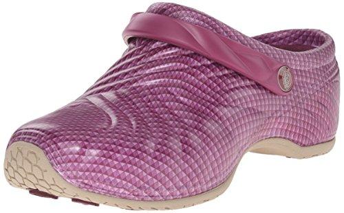 Dickies Women's Zigzag Work Shoe, Wine Chrome, 5 M US - Cherokee Nursing Clogs