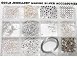 Goelx DIY Findings silver jewellery making accessories box- all basic silver jewellery materials with free storage box