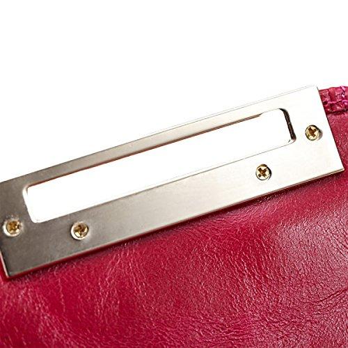 Sacchetto Portafoglio Femminile Del Raccoglitore Della Grande-capacità Di Multi-carda Del Raccoglitore Di Cuoio Semplice Casuale Di Modo Red