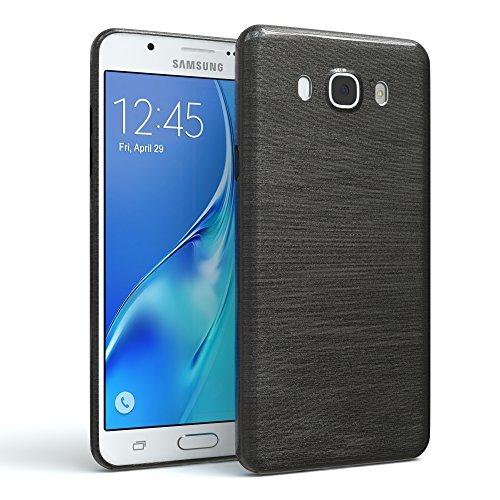 EAZY CASE GmbH Hülle für Samsung Galaxy J7 (2016) Schutzhülle Silikon, gebürstet, Slimcover in Edelstahl Optik, Handyhülle, TPU Hülle/Soft Case, Backcover, Silikonhülle Brushed, Anthrazit