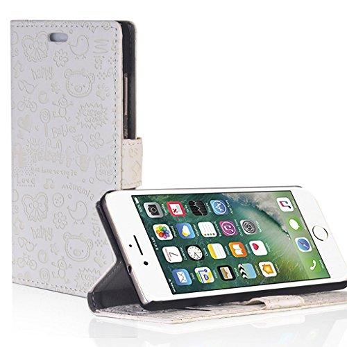 UKDANDANWEI iPhone 7 Hülle - Nette Muster Nähen Ledertasche Wallet Case Classic Schutzhülle Etui Hülle Schale - mit Standfunktion Für iPhone 7 - Rot MN-Weiß