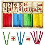 PANNIUZHE Holzspielzeug digitale Zahl-Karten Zählen und Zählen 52 Rods