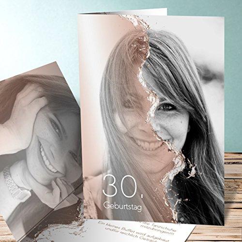 Einladungskarten Geburtstag online gestalten, Jungbrunnen 5 Karten, Vertikale Klappkarte 105x148 inkl. weiße Umschläge, Orange