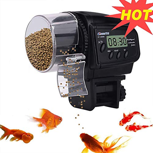 Lychee Automatischer Futterautomat Fische Futterautomat mit LCD Display und Zeitschaltuhr für Aquarium, Fischtank (2019D)
