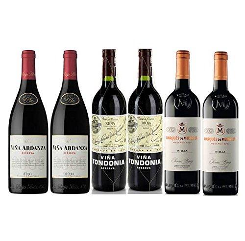 Pack Vino Top Rioja 6 Botellas. 2 Viña Tondonia Reserva, 2 Viña Murrieta Reserva Y 2 Viña Ardanza Reserva