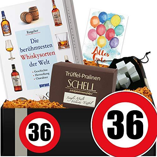 Zahl - 36 | Whisky Set mit Kühlsteinen | 36 Geburtstag Geschenke Ideen