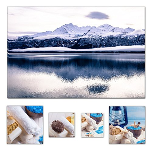 einwand Bundle Wonderful Daydream Ice Age, Alaska 60 x 90 cm für Home Décor und Charming Badezimmer Spa Collage-Set von 4 gerahmt Kunstwerk. (Stellen Simples Halloween)