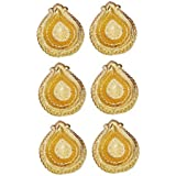 Diwali Gift - Set Of 6 Gold Plated Diya (Attractive, Resuable, Washable, Metallic)- Anupam Golden Diya / Deepak For Diwali / Deepwali Puja / Pooja / Gift / Puja Article - Corporate Gift