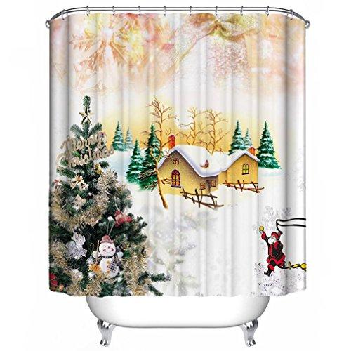 Custom Merry Christmas Bathroom Fabric Waterproof 60x72 Shower Curtain /& Hooks