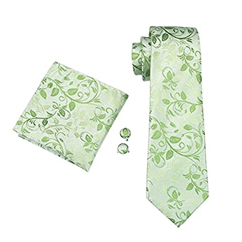Mens Formal Paisley Striped Floral 100% Silk Woven Neck Tie, Pocket Square Hanky Cufflink Set (Green Floral)