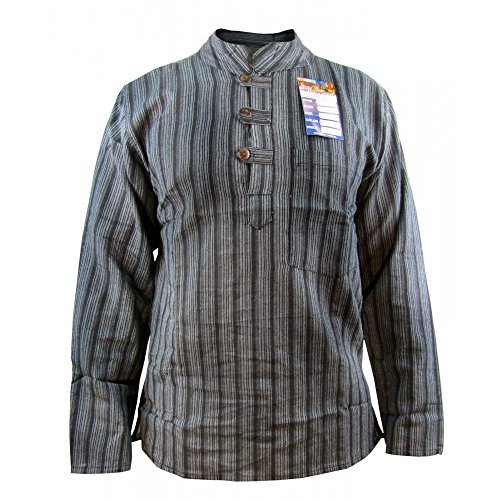 Little Kathmandu Men's Striped Cotton Light Grandad Shirt Kurtas