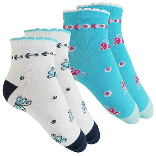 Esda Mädchen Socken 2-er Pack mit Schmetterling Motiv Türkis/Weiß Gr. 27/30 Söckchen Kindersocken, 75{b236220f689bcd7f1f86ee4ddcc4a55e903cbb6080a9dcd21eebb7af54d2ca63} Baumwolle