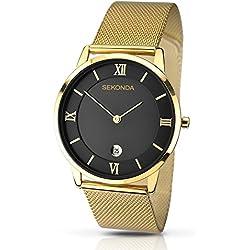 SEKONDA 1064.27 - Reloj de cuarzo para hombres, color dorado