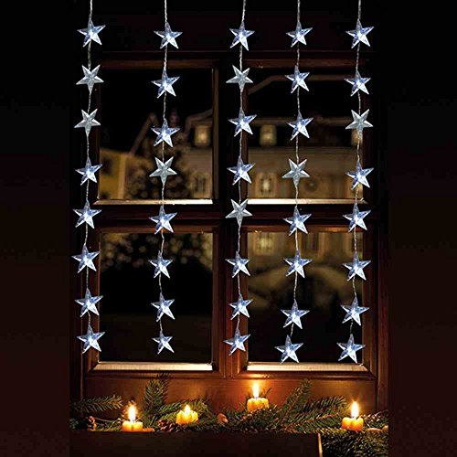 LED Lichtervorhang 40er Sterne warmweiß 1×1,2m innen / außen 06044