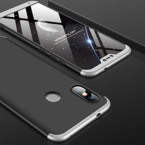 Huaxin Caso Xiaomi I A2 Lite, Ultra-fino Leve Caso Anti-impressão digital do risco de plástico rígido de protecção rígido Shell + filme protetor de tela, apropriado para Xiaomi I A2 Lite (Preto + Silver)