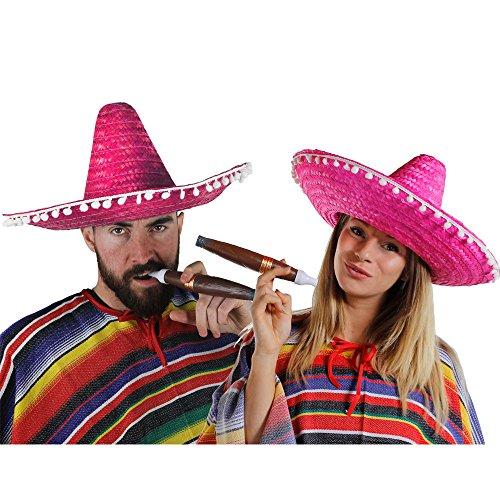 Paare Für Kostüm Western - MEXIKANER PAAR KOSTÜM VERKLEIDUNG = 2 PONCHOS + 2 ROSA SOMBREROS MIT KLEINEN WEIßEN POMPOMS +2 DICKE PLASTIK ZIGARREN+ 2 MEXIKANISCHE SELBSTKLEBENDE SCHNURRBÄRTE=FASCHING KARNEVAL HALLOWEEN