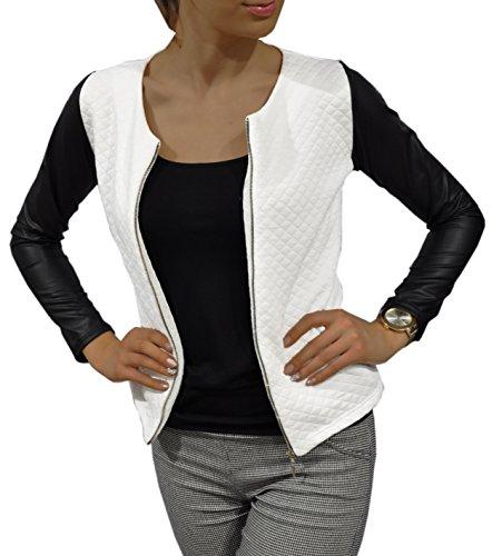 Damen Cardigan Jacke Bolero Steppjacke mit Kunstleder-Ärmel S M L XL 2XL 3XL 4XL (XXXL, Weiß)