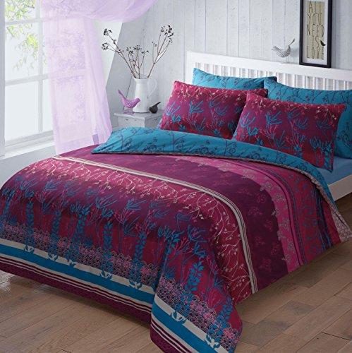 Luxus-Bettbezug-Sets mit Kissenbezug bedruckte Poly-Baumwolle (Blossom Garden Natural, Super Konig)