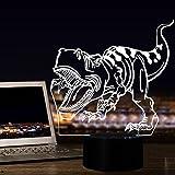 3D-Nachtlichter für Kinder, 7-Farbe ändern optische Illusion Licht LED-Schreibtischlampe mit USB-Interface, Smart Touch Switch Studie Schlafzimmer dekorative Tischleuchte, ziemlich cool Spielzeug Geschenke Ideen Geburtstag Weihnachten für Baby Nursery Toddler Freunde (Dinosaurier)