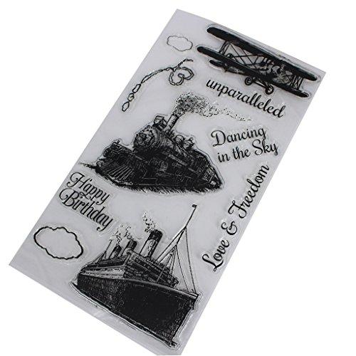 Cold Toy Fahrzeug Zug Flugzeug Schiff Transparentes Stempel Silikon Dichtungs Blatt für DIY Einklebebuch Handwerks Karten Album