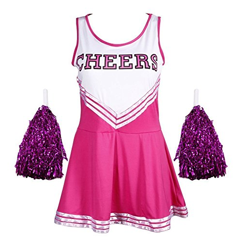 Rock Of Kostüm School - Frauen High School Musical Cosplay Cheerleading Kostüm Mädchen Halloween Kostüm Klassische Cheerleader Athletic Sport Uniform Mini Rock Karneval Kostüm Outfit mit Pompons