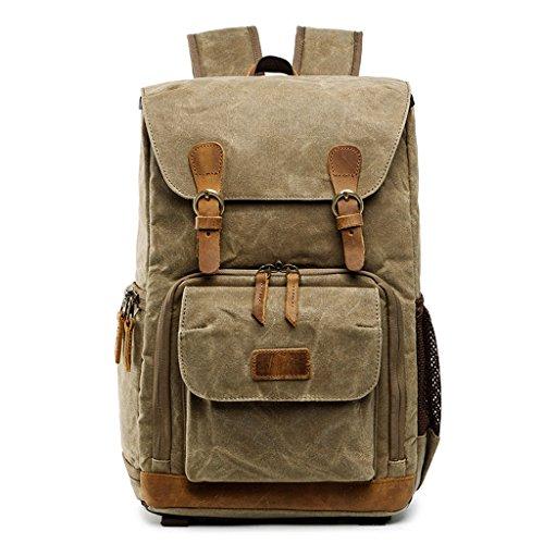 MG-N Taschen Daypack Doppelte Schulter Kameratasche wasserdicht Leinwand Männer und Frauen Kamera Rucksack (Farbe : Messing) (N Kamera-tasche)