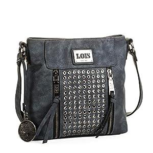 LOIS - 93144 Bolso de mujer bandolera ajustable. Dos bolsillos delante, uno detrás y uno interior con cremallera. Llavero y remaches. Piel sintética polipiel de Arsamar Enterprise S.L.