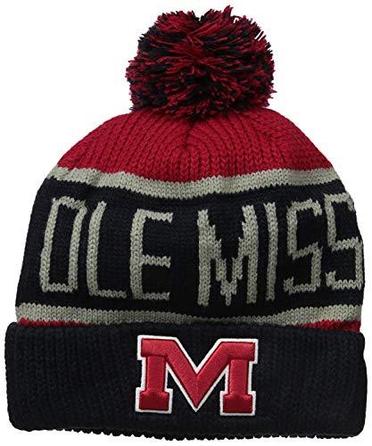 f Beanie Mütze mit POM POM - NCAA Cuffed Knit Cap, Herren, Mississippi Rebels ()