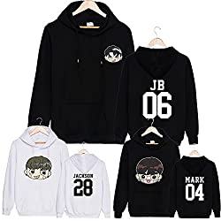 Discovery Kpop GOT7 Sweaters Mark Cartoon Unsex Hoodie Pullovers Long Sleeve Black Sweatshirts
