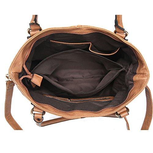 UTAKE Damen Handtaschen Umhängetaschen Schultertaschen Tote Henkeltaschen PU Leder Damen Tote Taschen Kreuzkörper DEUT36 Braun