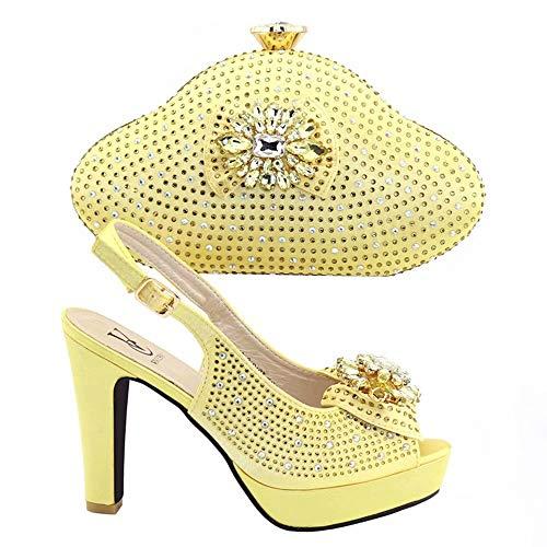 2019 - Zapatos Italianos de Color Amarillo con Bolsas a Juego para Zapatos y Bolsas, Juego de Zapatos y Bolsa africanos, Zapatos y Bolsos, Fiesta de Boda Italiana, Dorado (Dorado), 39 EU