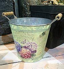 Idea Regalo - Homes on Trend Decorazione di nozze del secchio del fiore dell'annata del paese del vaso del piantatore del metallo floreale misero