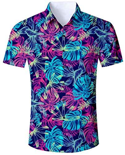 ALISISTER Bunt Hawaii Hemd Blumen Herren 3D Blatt Druckt Hässliche Aloha Button Hawaiihemd Herren Sommer Urlaub Party Outfits Strandhemd Kostüm L (Blatt Mann Kostüm)