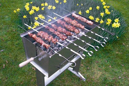 Thüros® 6 lange Spieße aus Edelstahl, für selbstgemachte Fleischspieße, 50 cm L