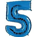 Ballon Zahl 5 in Blau - XXL Riesenzahl 100cm - für Geburtstag Jubiläum & Co - Fünf - Party Geschenk Dekoration Folienballon Luftballon Happy Birthday