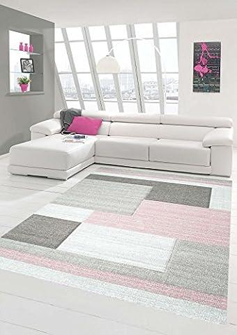 Teppich-Traum Designerteppich Moderner Teppich Wohnzimmerteppich Kurzflor Teppich mit Konturenschnitt Karo Muster Pastellfarben Rosa Beige Grau, Größe 120x170